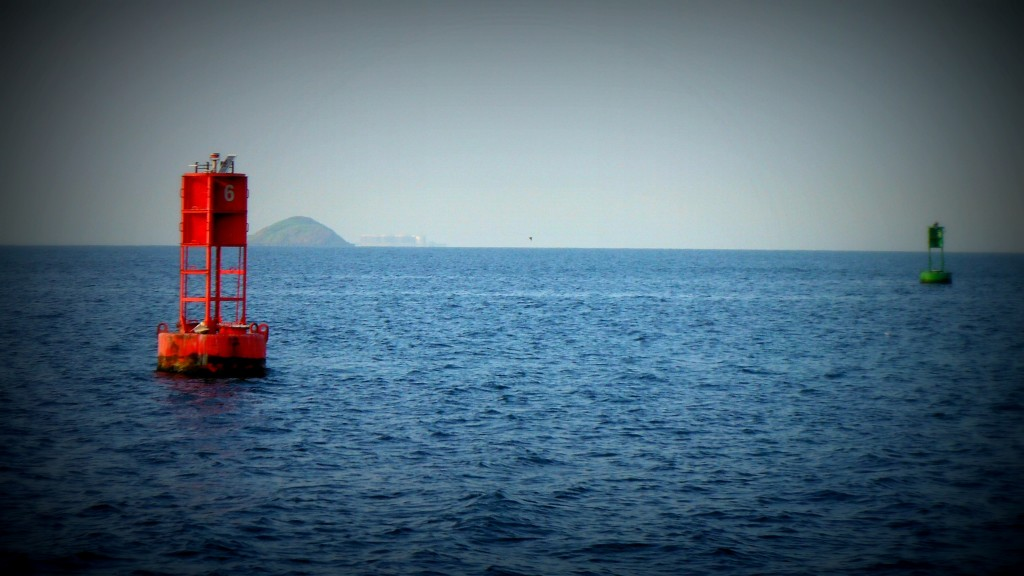 Channel Marker leading into the Panama Canal Marks the shipping lane transiting the Panama Canal by sailboat
